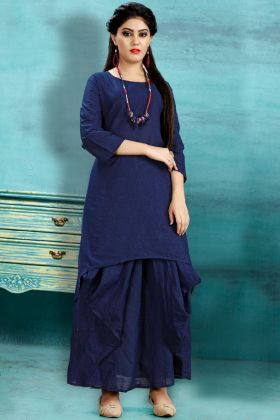 Navy Blue Cotton Slub Dhoti Kurti