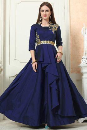 Navy Blue Embroiderd Taffeta Silk Gown