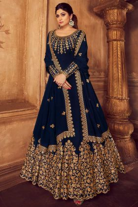 Navy Blue Embroidered Party Wear Georgette Anarkali Dress
