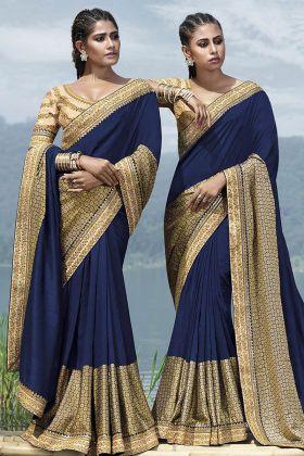 Navy Blue Fancy Art Silk Wedding Saree