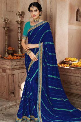 Navy Blue Georgette Bandhani Saree