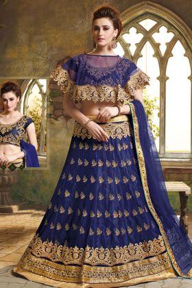 Navy Blue Jacquard Net Wedding Lehenga Choli