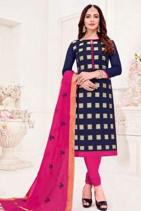Navy Blue Jacquard Silk Dress Material