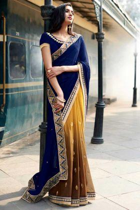 Navy Blue Jacquard Wedding Half And Half Saree Saree