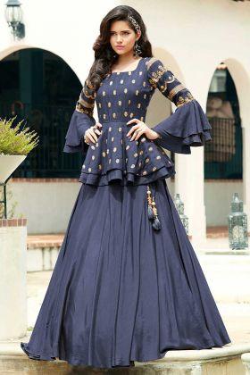 Navy Blue Killer Silk Partywear Indo Western Suit With Digital Print