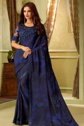 Navy Blue Mulmul Silk Fancy Saree