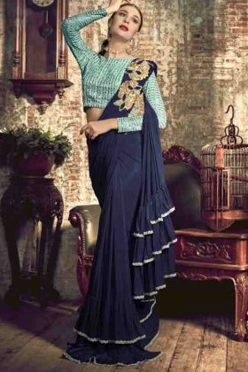 Navy Blue Party Wear Ruffel Saree