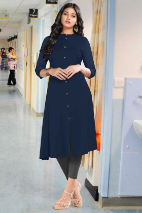 Navy Blue Rayon Designer Kurti For Girls
