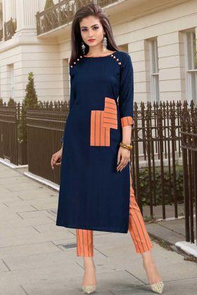 Navy Blue Rayon Fabric Printed Kurti