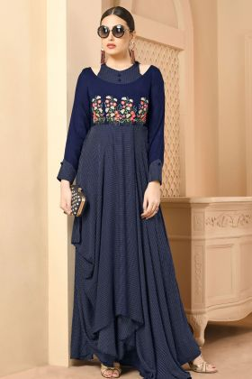 Navy Blue Rayon Fancy Kurti