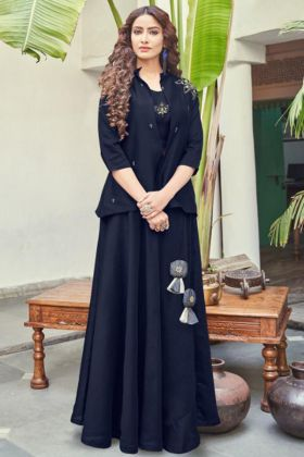 Navy Blue Silk Base Top With Skirt Indo Western For Girls