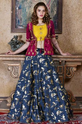 Navy Blue Silk Party Wear Lehenga Choli Online