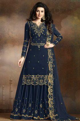 Navy Blue Soft Silk Sharara Salwar Suit Online