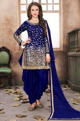 Royal Blue Taffeta Silk Patiala Salwar Kameez Net Dupatta