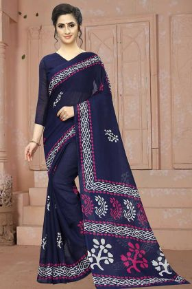 Navy Blue Traditional Soft Cotton Sarees