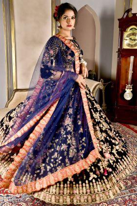 Navy Blue Velvet Bridal Lehenga Choli