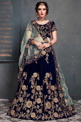 Navy Blue Velvet Wedding Lehenga With Soft Net Dupatta