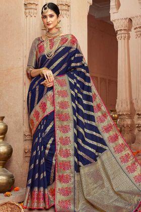 Navy Blue Wedding Art Silk Jacquard Saree With Zari Work Blouse