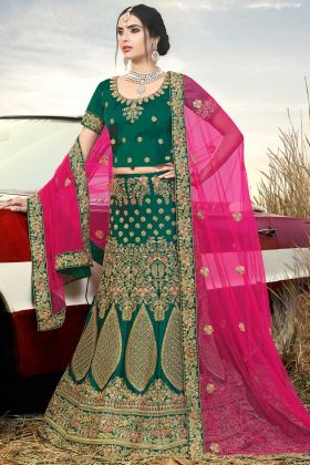 Naylon Satin Designer Bridal Lehenga Choli Dark Green Color With Thread Work