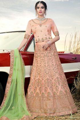 Naylon Satin Wedding Bridal Lehenga Choli Stone Work In Peach Color