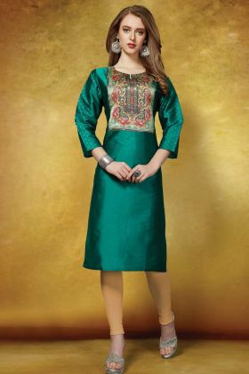 Neck Printed Readymade Straight Kurti In Teal Green