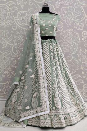 Net Dusty Green Bridal Lehenga Choli Designs