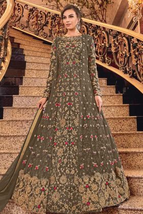 Net Embroidered Jacket Style Anarkali Gown In Dark Olive Green