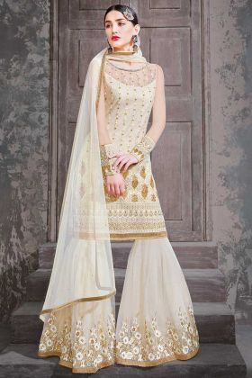Net Fabric Sharara Dress In Off White