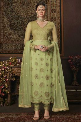 Net Heavy Designer Straight Suit Light Green