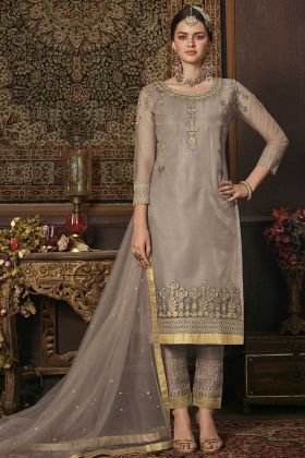 Net Light Grey Salwar Suit Ethnic Dress Material