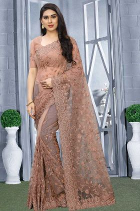 Net Party Wear Saree Dusty Pink Color With Blouse