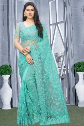 Net Party Wear Saree Turquoise Blue With Blouse