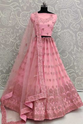 Net Pink Color  New Lehenga Design