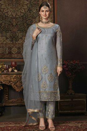 Net Steel Blue Girls Salwar Suit With Dupatta