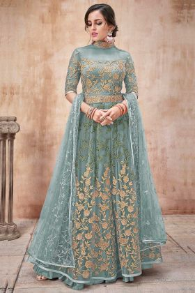Net Anarkali Dress Embroidery Work In Sea Green Color