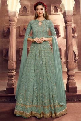 Net Anarkali Salwar Kameez Diamond Work In Sea Green Color