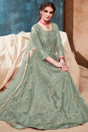 Net Anarkali Salwar Kameez Embroidery Work In Green Color