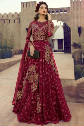 Net Anarkali Salwar Kameez Zari Work In Maroon Color