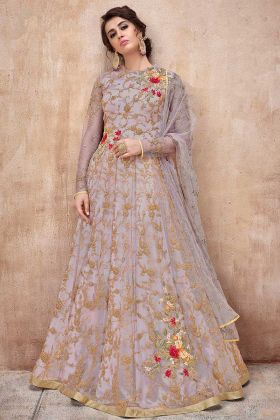 Net Anarkali Salwar Suit Grey Color With Coding Embroidery