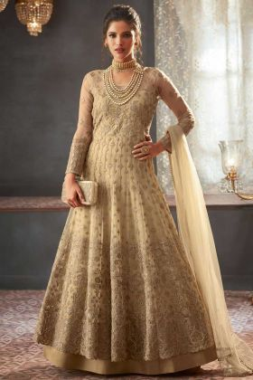 Net Anarkali Salwar Suit In Beige Color