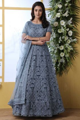 Net Anarkali Style Gown Thread Embroidery Work In Grey Color