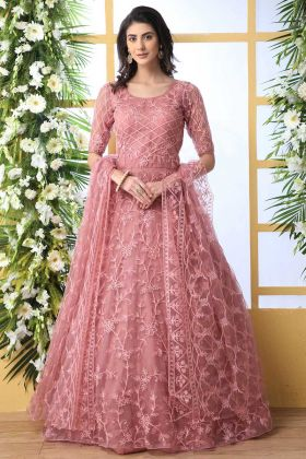 Net Anarkali Style Party Wear Gown Thread Embroidery Work In Dusty Peach Color