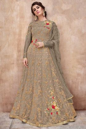 Net Anarkali Suit Dark Grey Color With Resham Embroidery