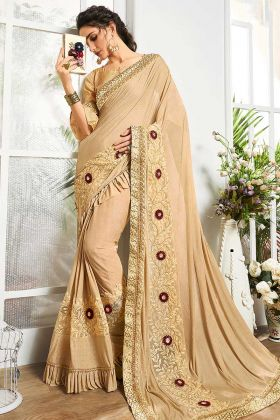 Net And Lycra Beige Color Ruffle Saree For Cocktail Party