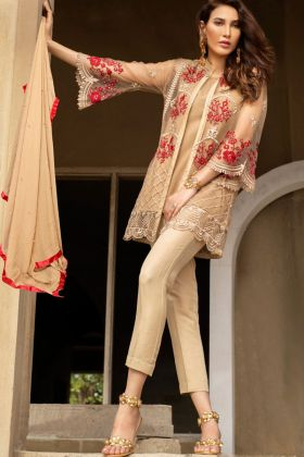 Net Beige Color Kilruba Pakistani Suits In BeadWork