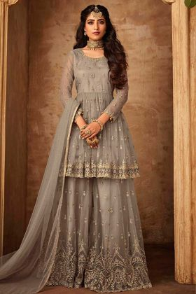 Net Beige Sharara Dress