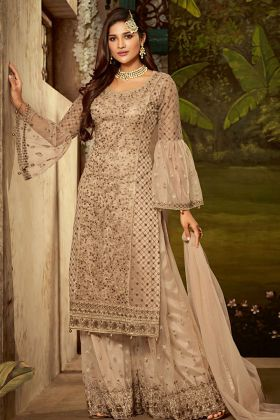 Net Beige Wedding sharara Suit
