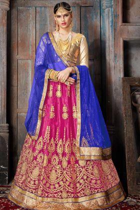 Net Bridal Lehenga Choli Pink Color With Embroidery Work