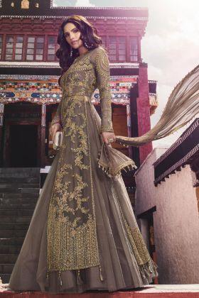 Net Brown Indo Western Salwar Suit