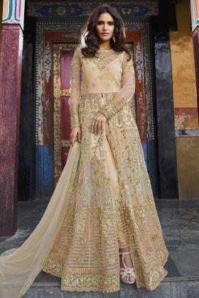 Net Cream Pant Style Salwar Suit